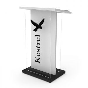 Acrylic and wood lectern